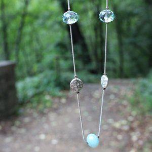 [5/$25]Long Drop Necklace Scatter Gems Flapper 20s